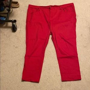 Red ankle length jeans